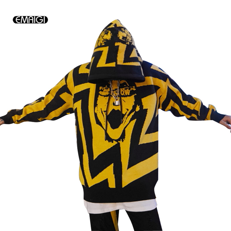 Mannen Streetwear Hip Hop Mode Casual Hooded Sweater Overjas Mannelijke Patroon Gebreide Trui Jas Voldoende Aanbod