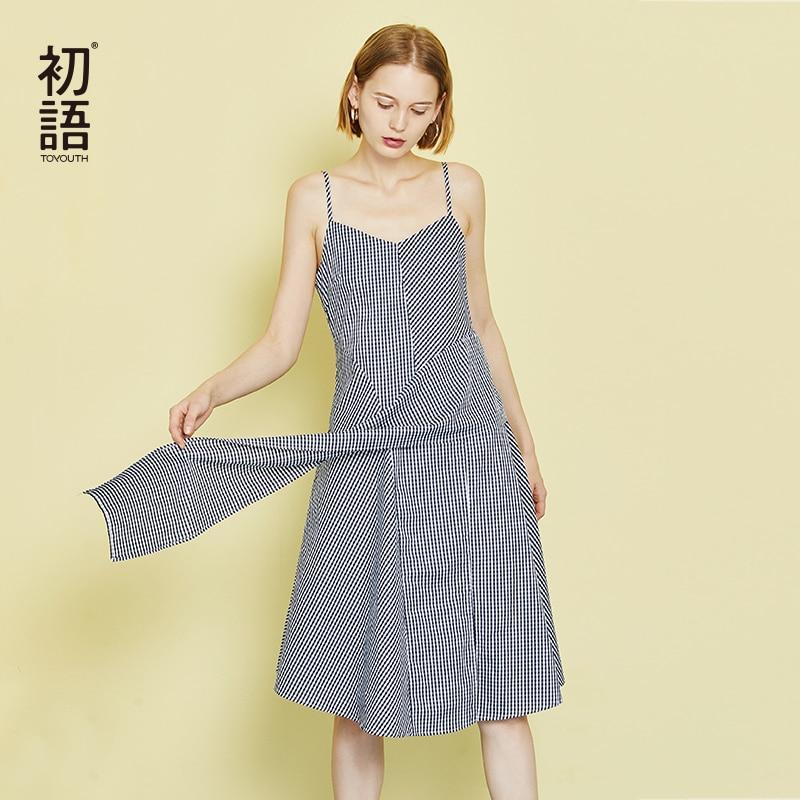 Toyouth Plaid Printed Short Mini Dress Women 2019 Summer Sleeveless Ruffles Irregular Strap Red Black Boho Beach Sundress