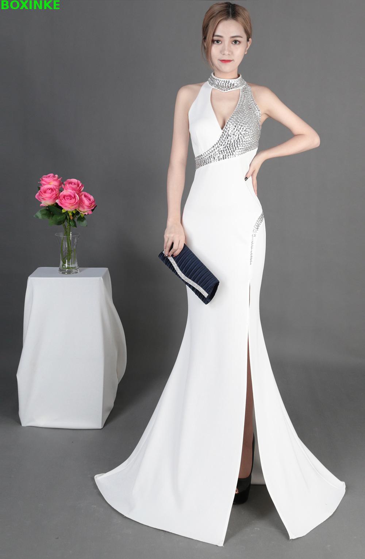 2018 Real Solid Lanon Maxi Dress Plus Size The New Summer Fashion Elegant Banquet Host Go Slim Dress Sexy Long Slit Nightclub