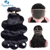 Sapphire Peruvian Body Wave Remy Human Hair 360 Lace Frontal With Bundle 1BColor For Hair Salon