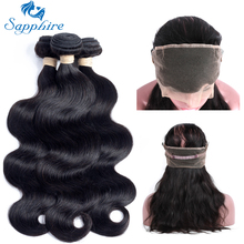 Sapphire Peruvian Body Wave Remy Human Hair 360 lace frontal with bundle 1BColor For Hair Salon High Ratio Longest Hair PCT 15%