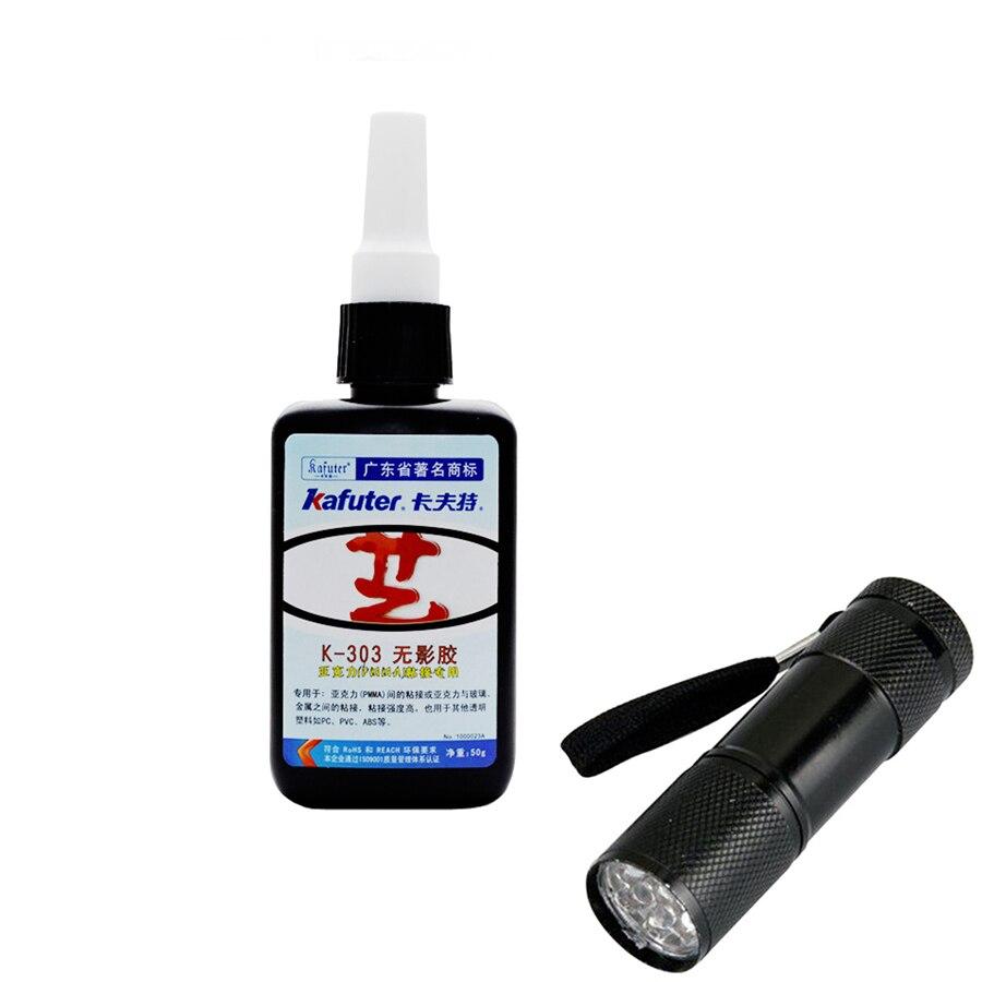 K-303 50g kafuter UV cola para colagem adesiva PMMA acrílico transparente PVC plástico ABS metal com 9 LED UV lanterna