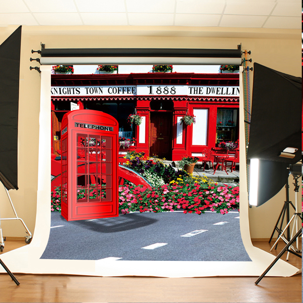 Wedding Photo Backdrops Red flower telephone booth Party Photo Background Green leaf chair Backdrops for Photographic Studio free shipping black inflatable cheap foldable photo booth for wedding party usage