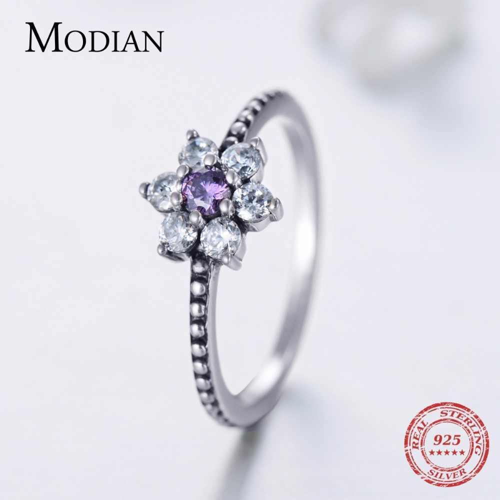 Modian 100% จริง 925 เงินสเตอร์ลิงสีม่วงดอกไม้คริสตัลแหวนสวยคลาสสิกนิ้วมือแหวนแฟชั่นเครื่องประดับ