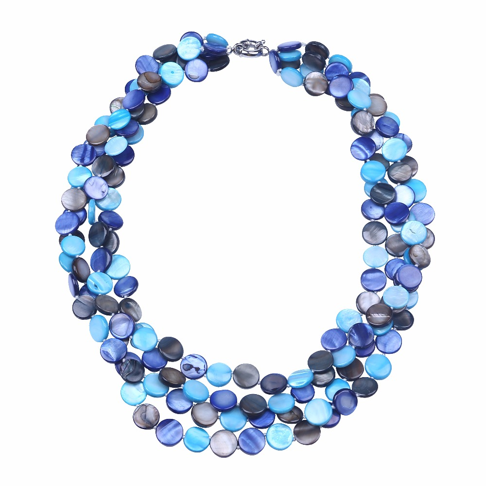 Free shipping pretty colorful 13mm coin shape shell necklace multi layer statement choker necklace sea shell pearl DIY jewelry