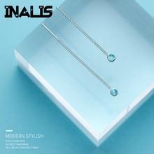 INALIS,, модная Длинная цепочка, линия уха, S925 серебро, хорошее ювелирное изделие, светильник с синими кристаллами, висячие серьги для девушек