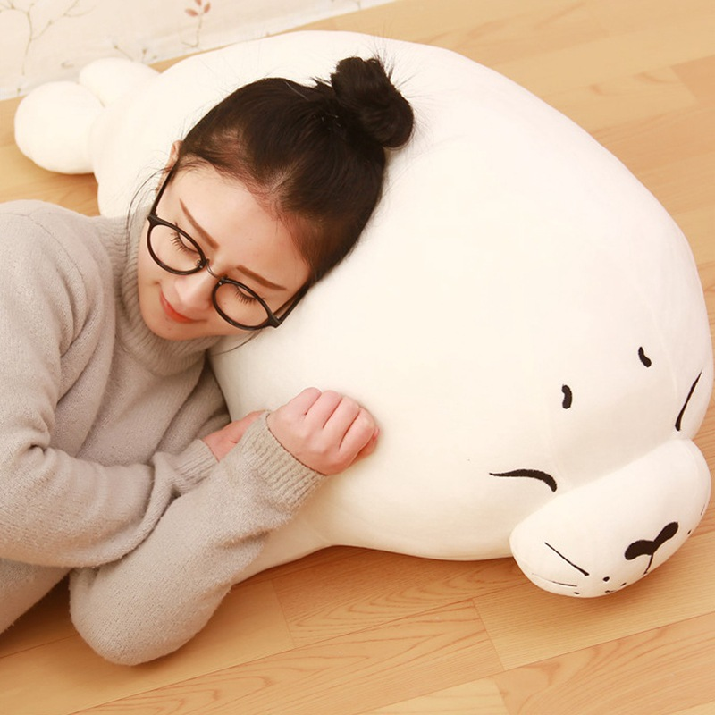 lovely big high quality plush seal toy lovely stuffed white seal pillow doll about 100cm