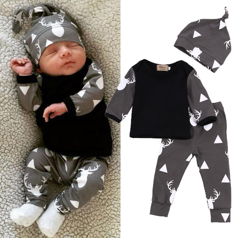 цена на Cute Newborn Baby Girl Boy Clothes Deer Tops T-shirt Long Sleeve + Pants Casual Hat Cap 3pcs Outfits Set Autumn