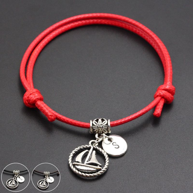 2020 New A-Z English Alphabet Smooth Sailing Pendant Red Thread String Bracelet Handmade Diy Lucky Rope Bracelet For Women Men