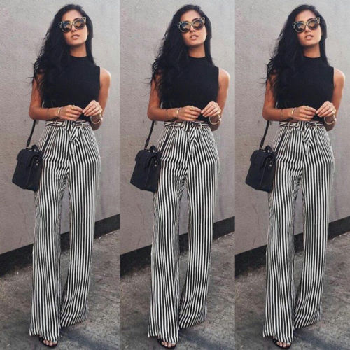 Pants Long Leg-Trousers Straps Palazzo Loose Striped High-Waist Wide Plus-Size Women's
