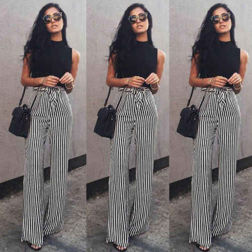 Women's Striped Palazzo Straps Pants Long Loose High Waist Wide Leg Trousers Ladies Plus Size
