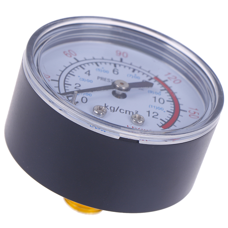Iron Shell Bar Air Pressure Gauge 13mm 1/4 Bsp Thread 0 ~ 180 PSI, 0 ~ 12Bar Double Scale For Air Compressor