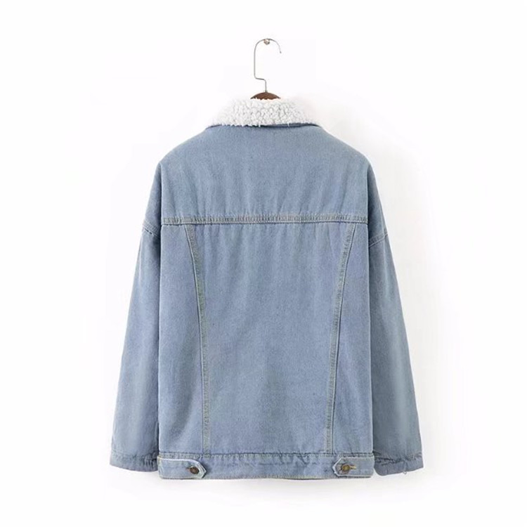 Warm Denim Winter Lining Blue With Coat Women Bomber Jeans Flap Button Full Fur Jacket Front Pockets amp; 55xHrvP