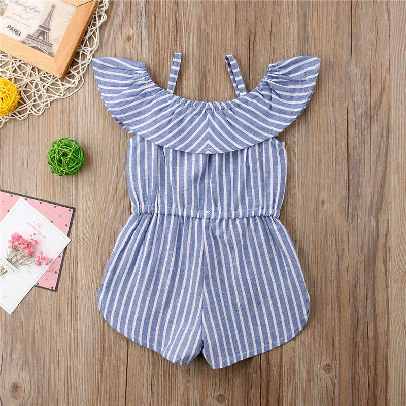 a26af99d835c ... Toddler Girls Jumpsuit 2018 Shorts Summer Ruffles Strap Playsuit Lovely  Striped Romper Casual Cotton Baby Kids ...