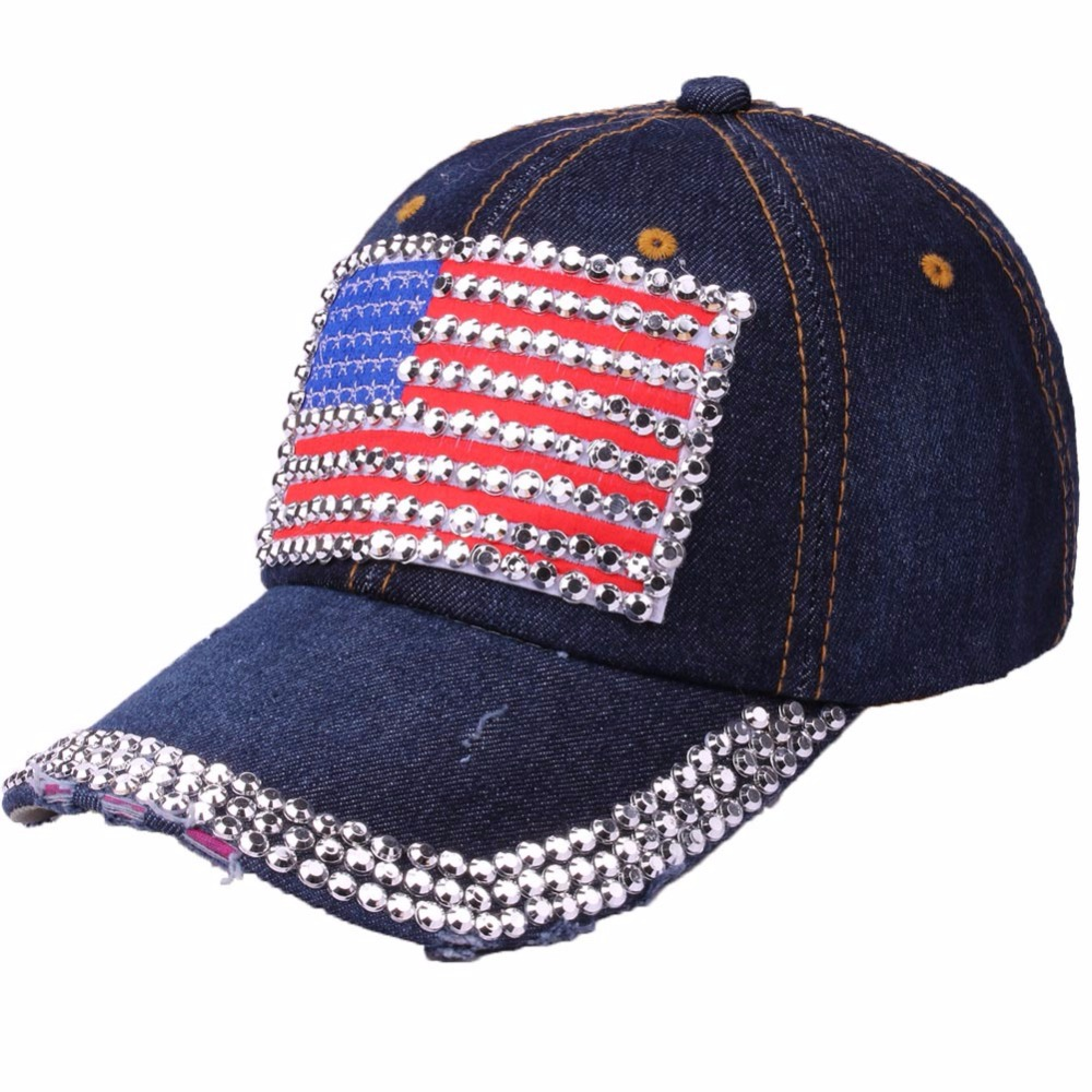 Denim Baseball Cap Women Spring Worn Hole Snapback Hat Cap For Girl American Flag Casquette Gorras Unisex Rivet Bone Hip Hop Cap