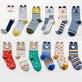 Otoño invierno lindo de la historieta 3d animales patrones de calcetines de algodón para mujer de marca creativa calcetines calcetines de moda femenina 3 par/lote