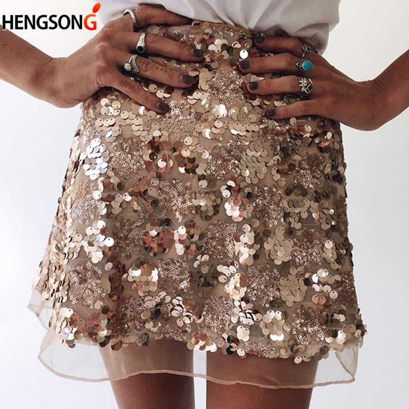 Have An Inquiring Mind 2018 Women Pencil Skirt Ladies Sequin Skirt High Waist Zip Glitter A-line Skirt Gold Sliver Sexy Mini Party Skirt A Wide Selection Of Colours And Designs