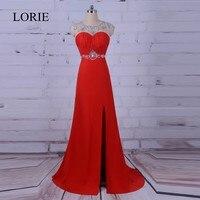 Sexy Long Red Prom Dresses 2017 LORIE Vestido de noche largo Real Image Formal Evening Dress Open Back Cap Short Sleeves