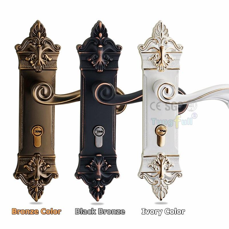 ФОТО Luxury Style Bronze Solid Lockset Handle PVD Locker Interior Door Classical Mechanical Lock Handle