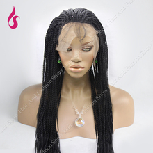 Box braide lace front wig 18-26inch natural hairline black Braided  Synthetic Lace Front   Wigs For Black Women – Free Shipping!