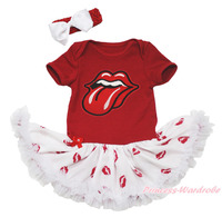 Red Mouth Tongue Bodysuit Girls White Lip Baby Dress Jumpsuit Outfit Set NB 18M MAJSA0678