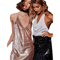 Women Sequin Dress Summer 2017 Sexy Club Dress Gold Off Shoulder Backless Slip Dress Evening Party Ladies Mini Dress
