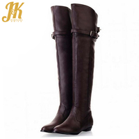Big Size 34 45 Women Over The Knee Boots Sexy Vintage Buckle Strap Motorcycle Boots Vintage