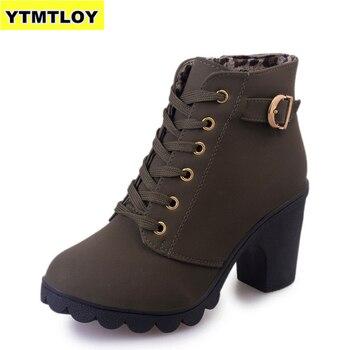 Зимние Повседневные женские туфли-лодочки размера плюс 35-43, теплые водонепроницаемые ботильоны на высоком каблуке, зимняя обувь 2020, ботинки...