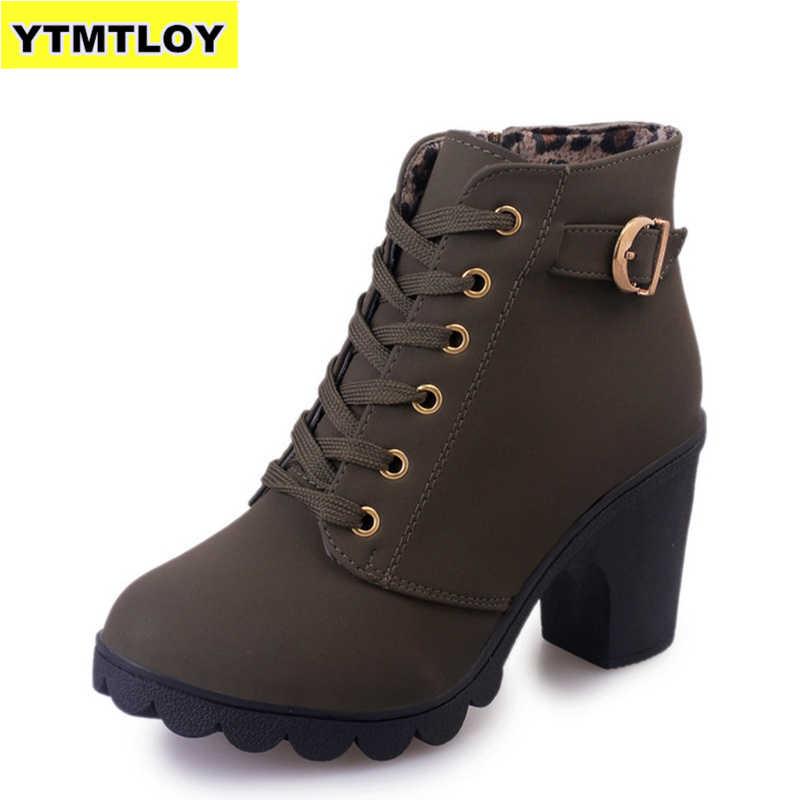 Большие размеры 35-43; зимние повседневные женские туфли-лодочки; Теплые ботильоны; водонепроницаемые зимние Ботинки martin на высоком каблуке; Botas; Лакированная обувь; botas muje
