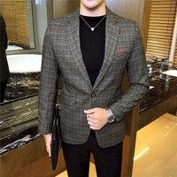 Autumn 2018 New Men's Suit Jackets Business Casual Plaid Striped Suit Coats Male Slim Suitable Blazer Jacket Men S 3XL