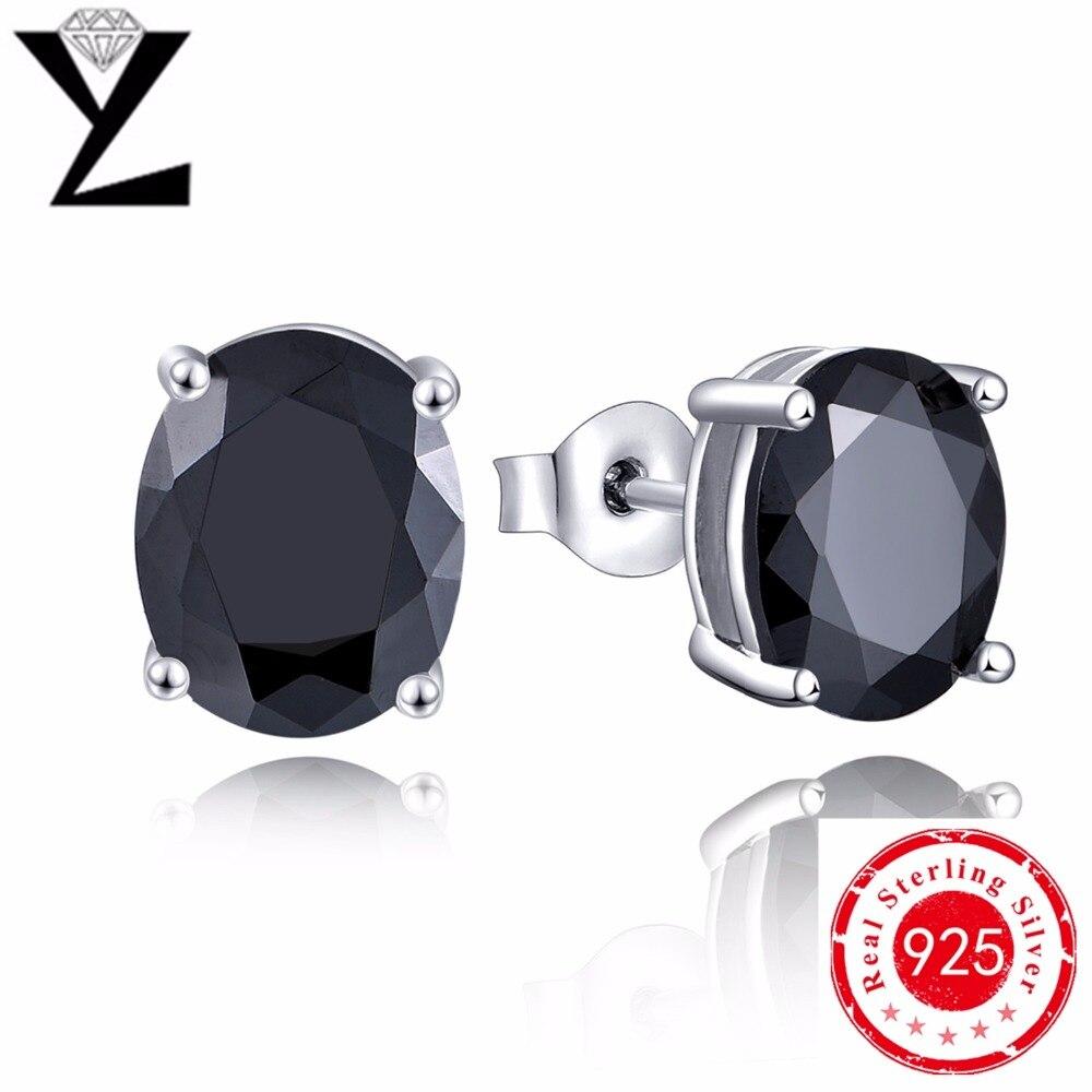 3b669ab66ee11 New Fashion 925 Sterling Silver Black CZ Diamond Stud Earrings White ...