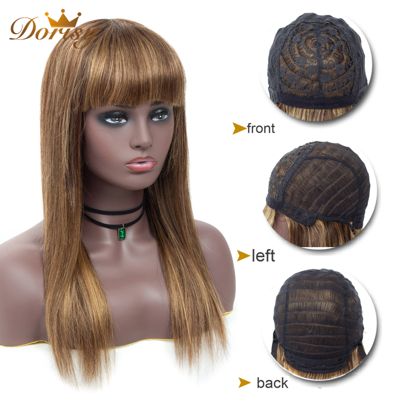 Human Hair Wigs Straight Human Hair Wigs With Bangs  P4/27 Brazilian Hair Wig For Black Women Wigs Non Remy Dorisy Hair Wig