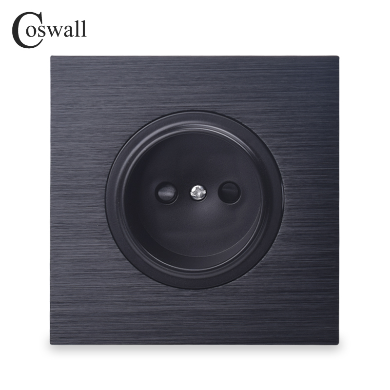 Coswall Luxurious Black Aluminum Panel 16A Universal EU Wall Power Socket Outlet With Child Protective Lock