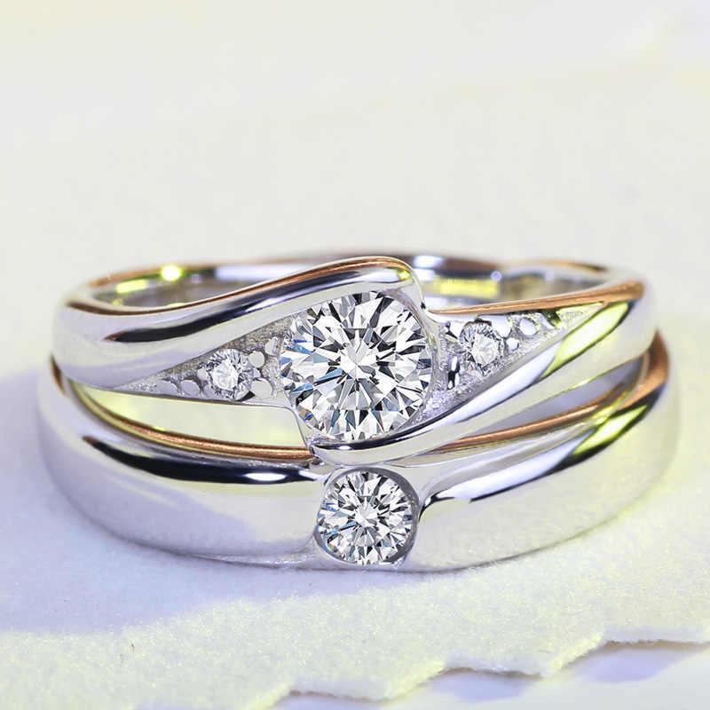 Echte สีขาวทองงานแต่งงานเครื่องประดับแหวนคริสตัลแหวน Anillos jz175 feminino anel bague เงิน S925 femme