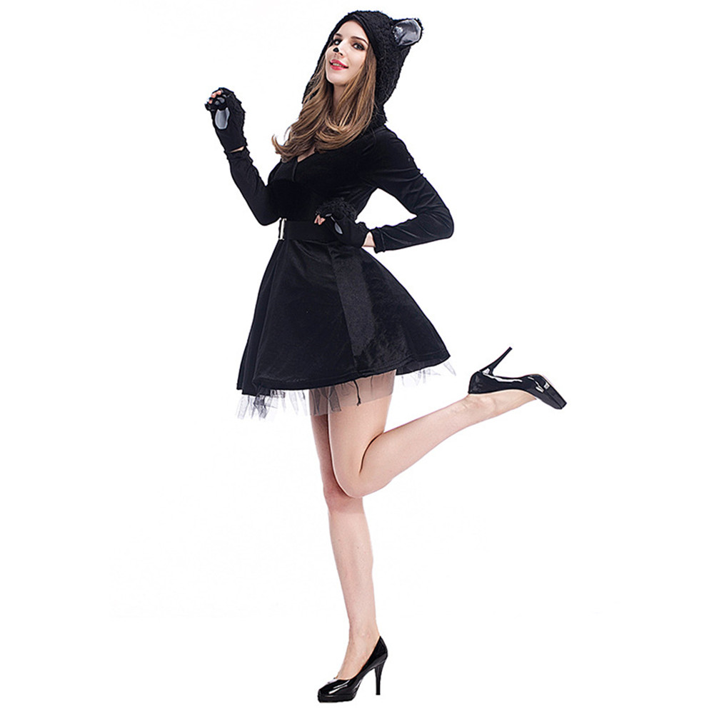 Halloween Purim Party Costumes women Matching Animal Black Cat Costume Cosplay Jumpsuit for Adult Fancy Dress
