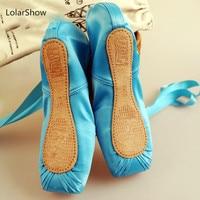 Синий Балетные пуанты детская балетная обувь