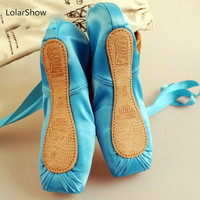 Blue Ballet Dance Pointe Shoes Kids Ballet Shoes