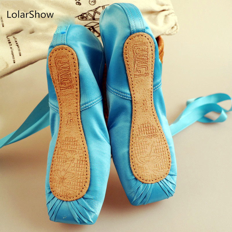 Blue Ballet Dance Pointe Shoes Kids Ballet Shoes title=