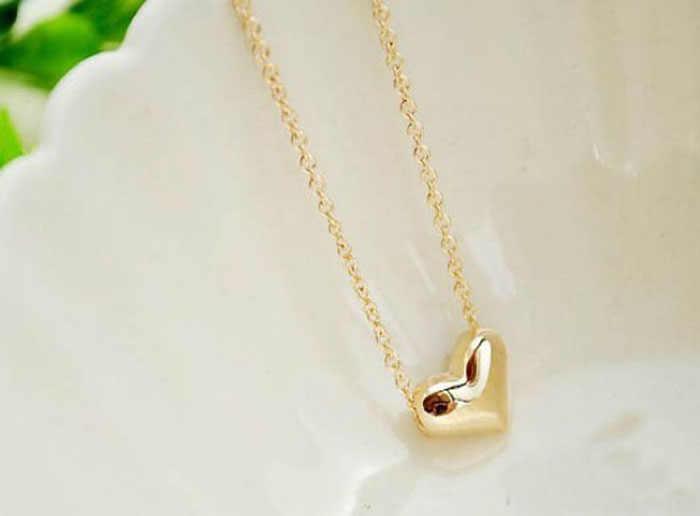 قلادة نسائية أنيقة قلادة مجوهرات للسيدات سلسلة عقد قوطي على شكل قلب ذهبي Collares De Moda 2019 بيجو فام L0621