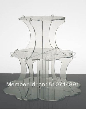 YAXIN 3 Tier Clean Beautiful Flower shape Acrylic Cupcake Stand Party / Wedding / Festival Supplies