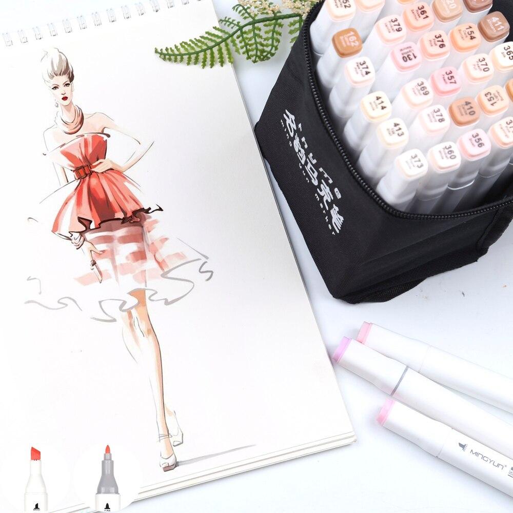 36 cores de pele tons marcador caneta conjunto cabeça dupla álcool base arte marcadores profissional para manga profissional desenho arte fornecimento