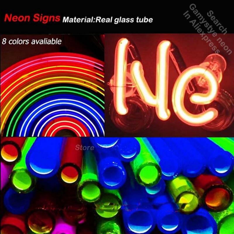 Enseigne au néon mon endroit heureux Tube de verre ampoules au néon signe Art Bar chambre affichage accessoires néon lumière décor chambre restaurant mur - 6