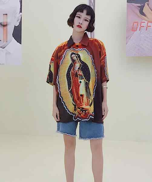 b77589006292 ... Unisex High Street Korean Virgin Mary Oil Painting Funny Punk Short  Sleeve Loose Oversized Shirts Summer ...