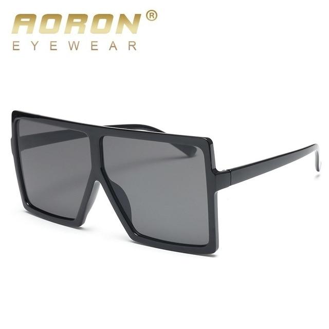 f8a95a10ec AORON cheap oversized sunglasses women square flat top white black big  ladies sun glasses female 2018