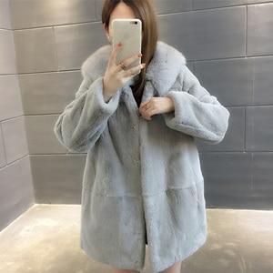 Image 5 - 2019 New Natural Rex Rabbit Fur Coats Women Oversize Hooded Winter Real Fur Jackets Plus Size