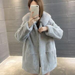 Image 5 - 2019 Yeni Doğal Rex Tavşan Kürk Palto Kadınlar Boy Kapşonlu Kış Gerçek Kürk Ceketler Artı Boyutu