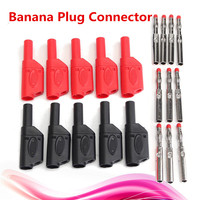 HOT SELLING 10Pcs 4MM Banana Plug Connector Red Black Safety Fully Insulated Male Stackable Connectors