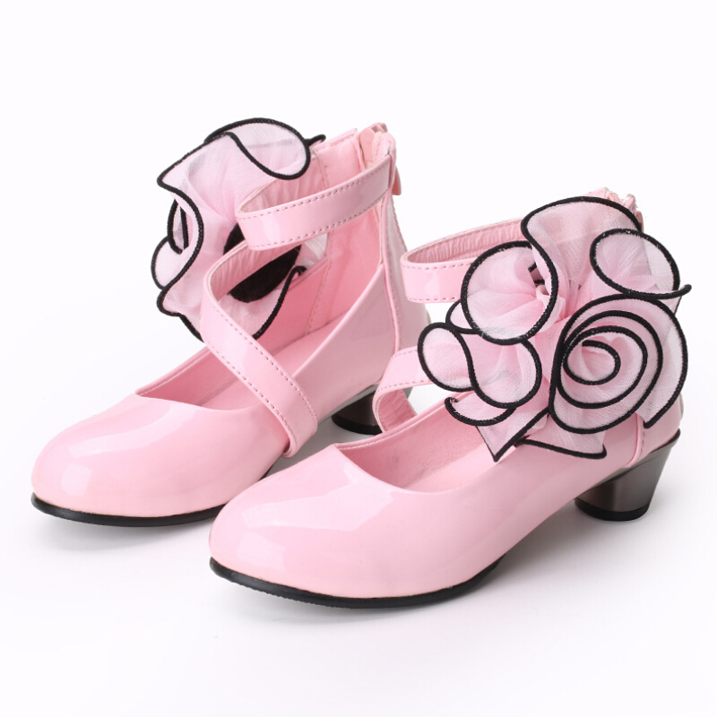 Aliexpress.com : Buy Red Pink Rose Girl PU Leather Shoes For Girls ...