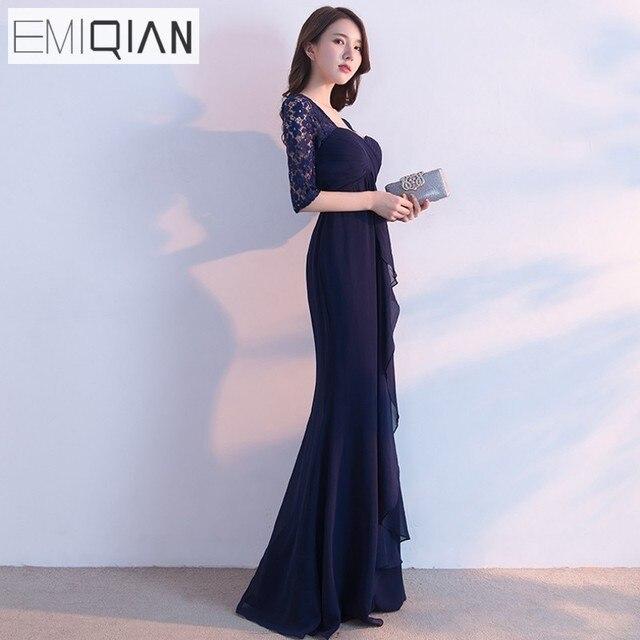 Blue Chiffon Evening Dress
