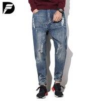 Nouveau mâle hiphop jeans bas entrejambe jeans hommes denim droite jeans harem hip hop pantalon hommes baggy pantalon stretch pantalon